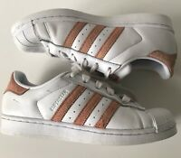 Women's Adidas Superstar: White and Pink Trainers Size: UK 5-EUR 38
