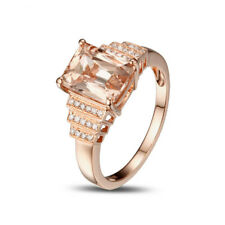 Solid 14K Rose Gold Natural Diamond Pink Morganite Engagement Anniversary Ring