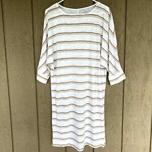 GARNET HILL Size Medium Taupe White 100% Organic Linen Dress