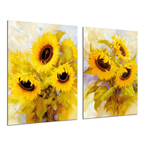 Sunflower Decor Canvas Wall Art - Abstract Oil Painting Yellow Floral Flowers 2
