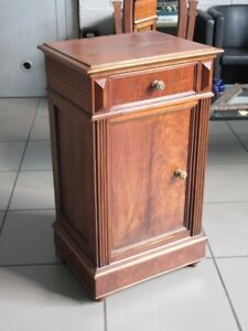 Antique Furniture Bedside Table Wood With Panel & Drawer Period Beginning Xx Sec