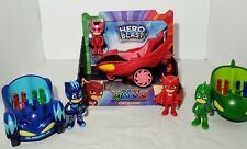 Pj Masks Action Figures and Vehicles Toys Lot, Owlette, Cat Boy And Gecko