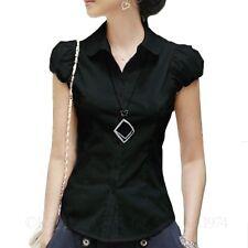 Collared Career Hippie Womens Vintage Blouse Smart Dress Shirt Summer Top Size Black 10