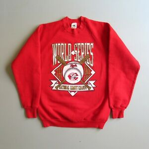 Vtg 90s Cincinnati Reds Baseball World Series Sweatshirt Shirt USA Made
