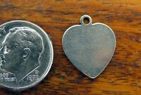 Vintage silver ENGRAVABLE HEART LOVE SWEETHEART VALENTINE DISC PENDANT charm