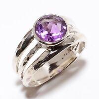 Amethyst Gemstone Handmade Ethinc Style 925 Sterling Silver Ring Size 6.5 R-31