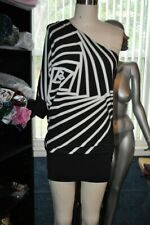 #104 BCBG One shoulder origami printed dress XS NWT black white