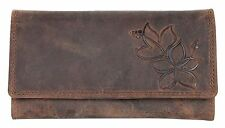 Natural strong genuine leather wallet with partial ormanental flower stamping