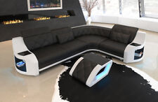 Ecksofa Leder Couch Sofa Genua L Form modern Chesterfield Design LED Beleuchtung