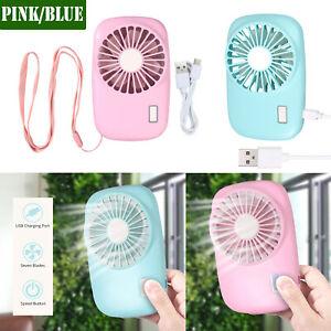 Portable Mini Fan Handheld Personal Fan Battery Operated Rechargeable Pink/BLUE