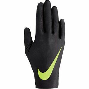 NEW NIKE Women's Black/Volt Lightweight Rival Run Gloves 2.0 - LARGE L