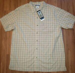 NEW! COLUMBIA Pinnacle Point Tan Plaid Button Front Plaid Camp Shirt XXL