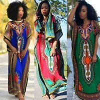 Women Fashion African Print Party Long Dress Casual Straight Print Kaftan Dress