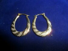 9ct yellow gold creole design drop earrings