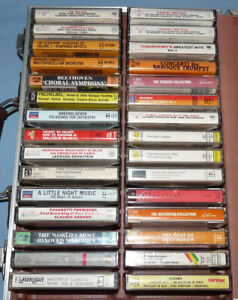 Lot of 30 Classical & Opera Cassettes with Leatherette Hard-Sided Case NICE