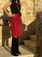 Prada LUNA ROSSA Burgundy Red Zipper Slit Belted Skirt