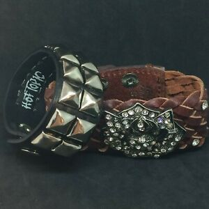 Two Unisex Leather Bracelets~Hot Topics and More~L@@K
