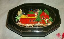 Vintage Signed Russian Black Red Lacquer Trinket Box Starry Night Village Scene