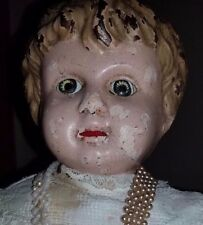 """Antique German Tin Head 17"""" Minerva Doll with Leather Body"""