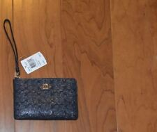 Coach Signature Wristlet Wallets Debossed Patent Leather Midnight F58034 NWT
