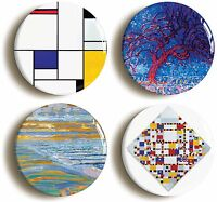 PIET MONDRIAN BADGE BUTTON PIN SET (Size is 1inch/25mm diameter) DE STIJL CUBIST