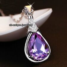 SALE BLACK FRIDAY - Purple Crystal Necklace Silver XMAS Gifts For Her Love Women