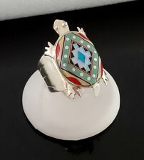 Sterling Silver ZUNI INLAY TURTLE Men's Ring Sz.12 Signed SS