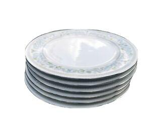 SET OF SIX PRETTY PASTEL BLUE CROWN MING PORCELAIN LARGE DINNER PLATES