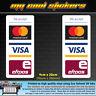 2 x Mastercard Visa Eftpos Vinyl Sticker Decal, for Window Door Shop