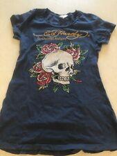 ED HARDY by CHRISTIAN AUDIGIER  - BLUE - STUDDED - Skull Flowers - WOMEN'S LG