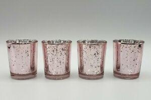 Votive Candle Holder Light Pink Mercury Glass Tealight - 4 Home Decor Kate Aspen