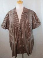 LANE BRYANT 22/24 Plus Size Peplum Shirt Top Blouse, Brown, Cap SLeeves, A912