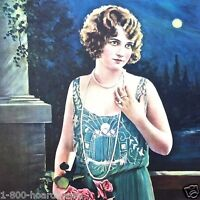 Vintage Original 1920s Flapper Girl MOONLIGHT ROMANCE Art Lithograph Print NOS