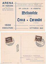 # ARENA DI VERONA CART. STAGIONE LIRICA 1937- con annullo