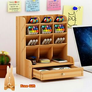 Wooden Desk Organiser Drawer Desktop Organiser Wood Desk Tidy Pen Storage Holder