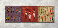 Ethnic African Black Girl Dancer Painting Canvas Abstract Art Wall Decor Framed