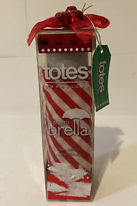 NEW Totes Open  Full Size Micro 'Brella Umbrella  Folding Red & White With Bow