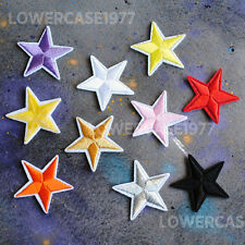 Set of 10 embroidered stars Iron on patches -  happy shapes cute kawaii bright