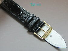 *** Longines men's black 18mm leather watch band with gold plated buckle ***