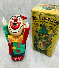 50s Nomura Ball Blowing Clown Vintage Battery Operated Tin Toy