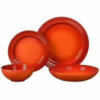 Le Creuset Dinnerware Set Orange Stoneware 16-Piece Serves 4