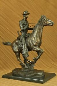 """TROOPER OF THE PLAINS"" Bronze Reproduction Cavalry Soldier FREDRIC REMINGTON NR"