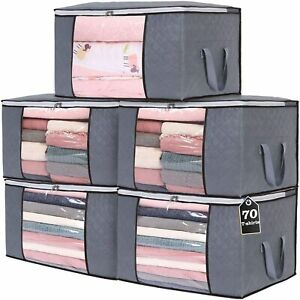 5×90L Underbed Clothes Storage Bags Organizer Wardrobe Cube Closet Boxes Zipped