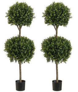 "2 Artificial 56"" Boxwood 2 Ball Topiary Tree Outdoor Bush Pool Patio Fake 4' 8"""