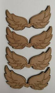 Wooden MDF Angel Wings craft Shapes x4 Detailed 100mm Embellishments