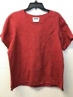 NWT FLAX Womens 100% Linen Shirt Top Size S Short Sleeve Red Lagenlook