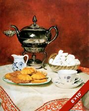 ENGLISH TEA TIME SUGAR CREAM COOKIES BISCUITS PAINTING ART REAL CANVAS PRINT