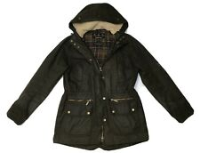 Barbour KELSALL Ladies Waxed Wax Cotton Olive Hooded Parka Jacket Size UK 12