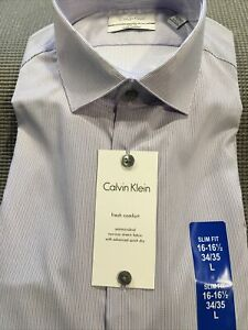 Calvin Klein New Men's Long Sleeve Slim Fit Stretch Non-Iron Antimicrobial Shirt