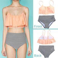 Swimwear Fashion Women Falbala High-waisted Bikini Set Push-Up Swimsuit Bathing